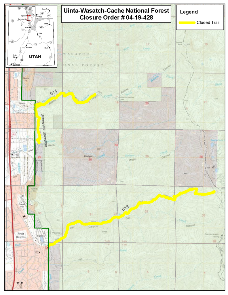 Closure map showing closed trails in yellow