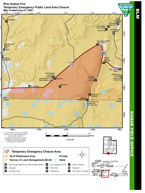 This is a map of the fire area extending north of the Utah border up to Highway 89. Follow the link for the order and a pdf map.