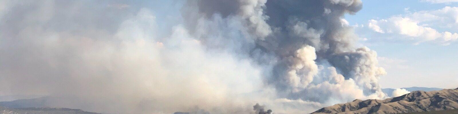 smoke column on Richard Mountain Fire