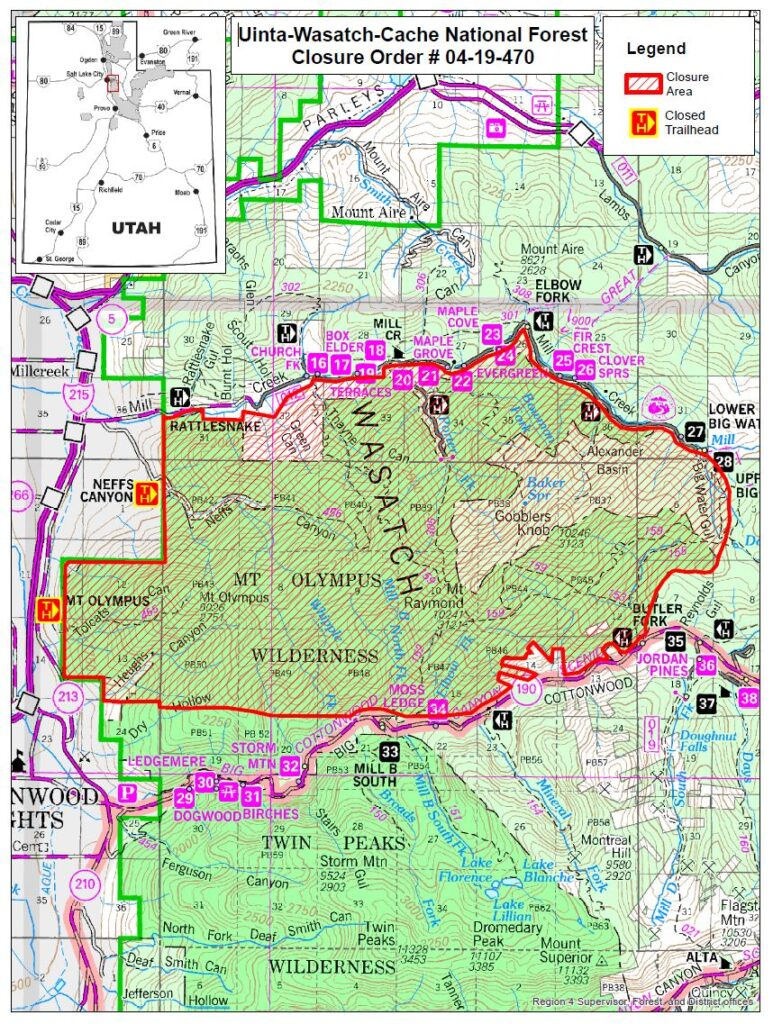 Map of the fire closure area updated September 25, 2020
